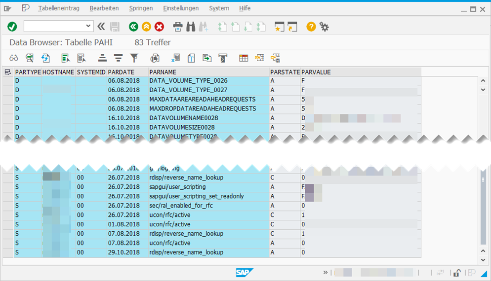 Screenshot: Tabellenanzeige von PAHI in Transaktion SE16