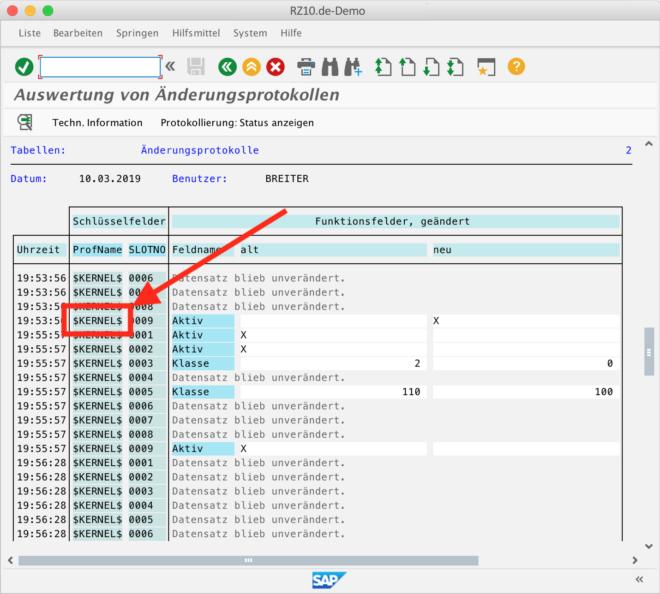 """Die Änderungen der Kernel-Parameter wird in der Tabelle RSAUPROF protokolliert. Rufen Sie dazu den Report RSTBHIST auf und suchen Sie nach den Profilen """"$KERNEL$"""". Die Slots entsprechen den einzelnen Parametern."""