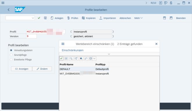 Bearbeitung der SAP Profilparameter in der Transaktion RZ10