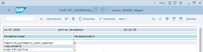 Aktiver Parameterwert in der Transaktion RZ10