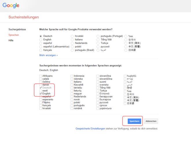 Suchergebnisse - Sprachenauswahl