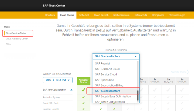 Cloud-Service-Status - Produktauswahl