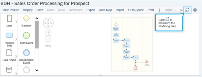 Beispielgrafik eines BPMN-Diagramm in Focused Build