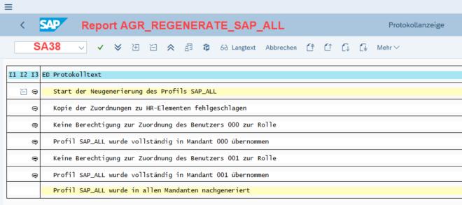 Transaktion SA38 - AGR_REGENERATE_SAP_ALL