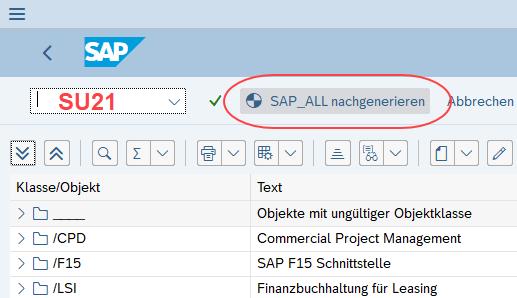 Transaktion SU21 - SAP_ALL nachgenerieren
