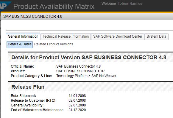 Noch zeigt die Product Availability Matrix auf Ende 2020