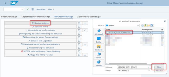 Screenshot XAMS Massenverarbeitungswerkzeuge