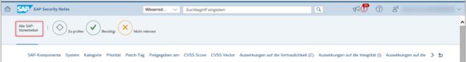 Alle SAP Sicherheitshinweise anzeigen lassen