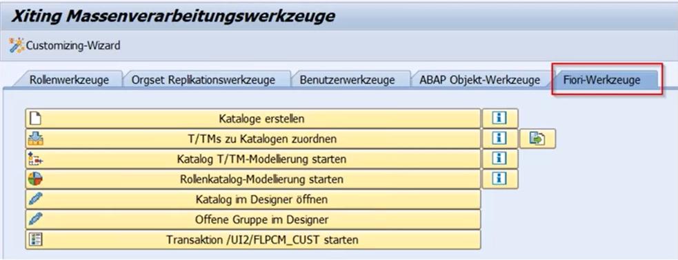 Xiting Role Replicator Fiori Werkzeuge (Screenshot)