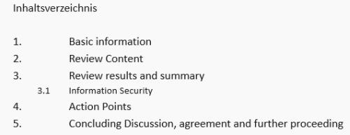Beispielhaftes Inhaltsverzeichnis eines Prüfberichts